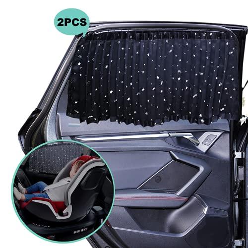 ZATOOTO Auto Sonnenschutz Vorhang - Fenster Vorhang Magnetisch zu Blockieren UV, Blickdicht zur Privatsphäre, Schwerlast, Schwarz (2 Stück)