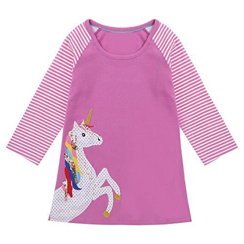 inlzdz Camiseta para Niñas Vestido T-Shirt de Algodon Manga Larga Cuello Redondo Tops Camisas de Unicornios Niñas 1-7 años Morado 4-5 años