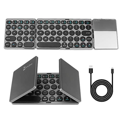 Folding Bluetooth Keyboard, Maxjaa Ultra-Slim Mini Folding Portable Wireless Keyboard with Touchpad & USB Rechargable Battery, Tri- Folding Wireless Keyboard for iOS, Android, Windows (Black)