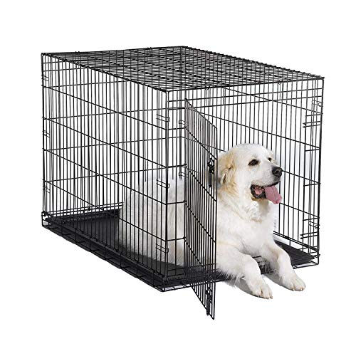 """New World 48"""" Folding Metal Dog Crate, Includes Leak-Proof Plastic Tray, Dog Crate Measures 48 L x 30 W x 33 H Inches, Fits XL Dog Breeds"""