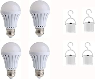 JKLcom Emergency LED Light Bulb 4Pack,9W Emergency Light Bulbs Portable Emergency Lamp Rechargeable Bulb Household Light Bulbs for Hurricane Power Outage Home Camping,with Hook Switch