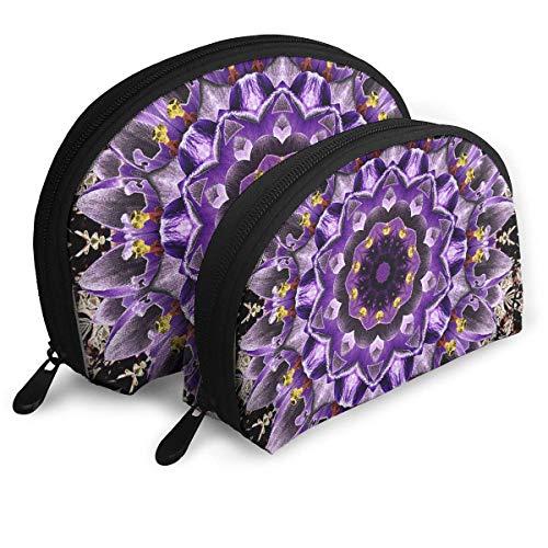 Trousse de Maquillage Violet Crocuses Mandala Portable Shell Organisateur de Toilette pour Les Femmes Cadeau De Noël 2 Pack