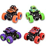 Monster Trucks Toy Cars, 4 Pack Pull Back Vehicles Cars for Toddlers, 360° Rotation 4 Wheels Drive Durable Friction Powered Push and Go Toys Truck Playset Gift for 3 4 5 6 7 8 Year Old Kids Boys Girls