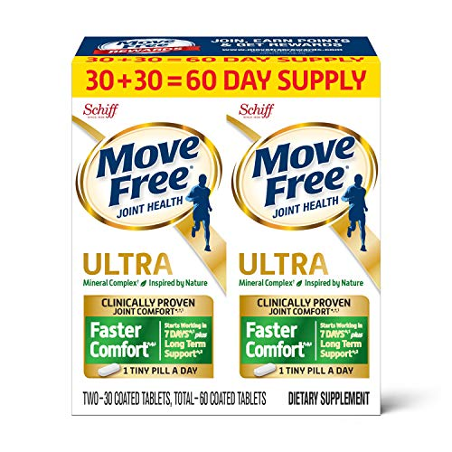 Calcium & Calcium Fructoborate Based Ultra Faster Comfort Joint Health Supplement Tablets, Move Free, Clinically Proven Joint Comfort in 1 Tiny Pill A Day (Packaging May Vary), 30 Count (Pack of 2)