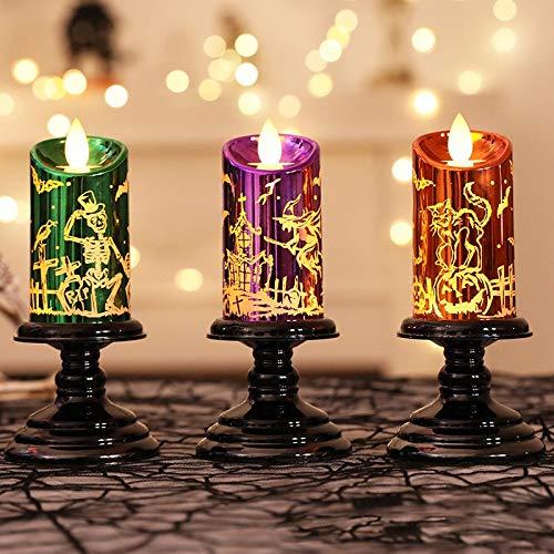 Kamenda - Candele a LED per decorazione di Halloween, realistiche e luminose, con batteria tremolante, colore: Viola