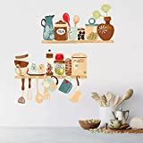 Patrón pegatinas de pared restaurante cocina estante decoración de la pared papel tapiz decoración del hogar pegatinas extraíbles