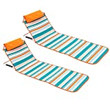 JHome 2 Pack Beach Lounge Chairs for Adults, Folding Lightweight Portable Camping Chairs Beach Loungers Lawn Chairs for Outdoor Relaxing and Sun Tanning, Orange Stripes