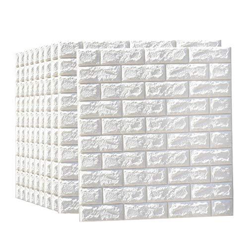 sknonr 3D Wandaufkleber weiße Schaumziegelsteine 10 Stücke Stereo Tapete Hintergrund Wand Wohnzimmer Schlafzimmer Dekoration Aufkleber Anti-Collision Klebstoff Textur Ziegel