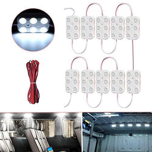 Lianqi 12V 10x6 LEDs Van Interior Light Kits,Auto Ceiling Dome Light 5730 60SMD Panel Kit for Van Trailers Lorries RV, Camper, Garage, Buggy, Boat or Window Lighting (White)