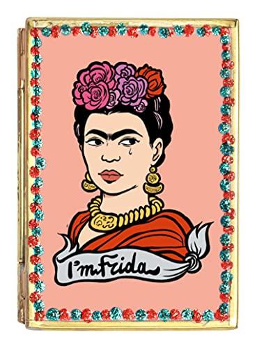 Art&design24 Miroir « I'm Frida », Miroir de Poche en Fer-Blanc Visage de Frida Kahlo, Petit Miroir 5,5 x 8 cm, Poids 55 g, Produit Fait Main par des Artisans mexicains
