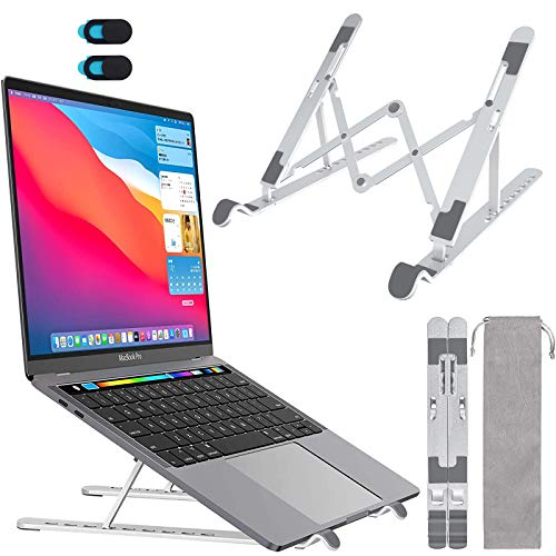 ACPURI Verstellbarer Laptop Ständer Aluminium Tragbarer Faltbarer Notebook Ständer Kompatibel mit MacBook Pro/Air, HP, Lenovo, Dell, More 10