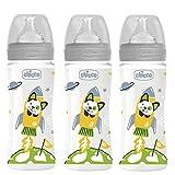 CHICCO Biberon 330 ml Tétine Flux Rapide, lot de 3, Fabriqué en Italie