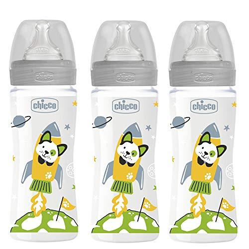 CHICCO Biberon 330 ml, 3 pezzi, Flusso Veloce 0% BPA, made in Italy