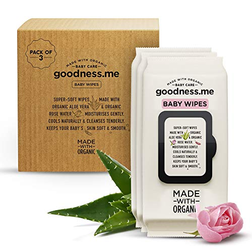 goodnessme Made with Organic Pure Water Baby Wet Wipes, Pediatrician Certified, Pack of 3 (216 Wipes) | Hypoallergenic, Derma Tested, Vegan
