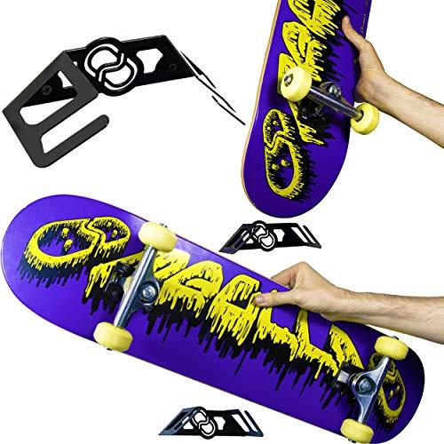 MEOLLO Vertikale und horizontale Halterung Hänger für Skateboard (100% Stahl) (1 X Schwarz)