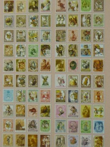 【ノーブランド品】アンティーク 切手風シール 80枚x5種セット 欧州 アリス オズの魔法使い