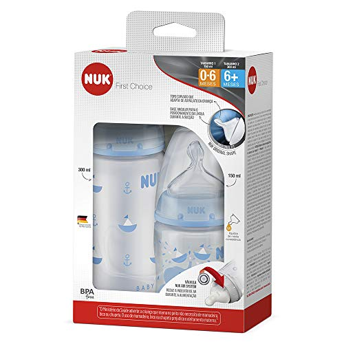 Kit com 2 Mamadeiras FC Blue S1 150 ml e S2 300 ml - NUK, Azul