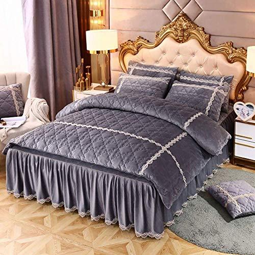 Bettrock 4-teiliges Set Bettwäsche Bett Rock Traditionelle Rüschen BettPread...