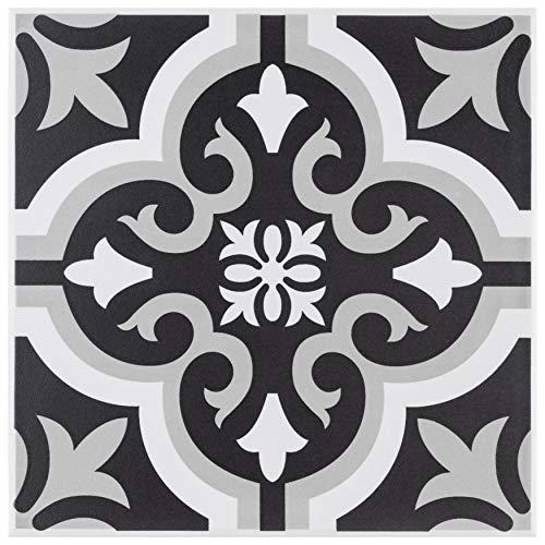 SomerTile FTC8BRC2 Bracara Augusta Encaustic Ceramic Tile, Black, 25 Piece