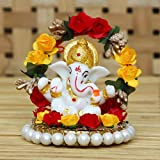 eCraftIndia Lord Ganesha Idol on Decorative Handcrafted Plate for Home and Car