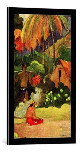 kunst für alle Bild mit Bilder-Rahmen: Paul Gauguin Mahana maa II - dekorativer Kunstdruck, hochwertig gerahmt, 40x70 cm, Schwarz/Kante grau