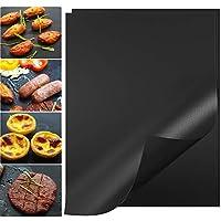グリルマット、15.8×11.9インチ、厚さ0.2mm バーベキューマット、100%焦げ付き防止グリルパッド、手入れが簡単で再利用可能な頑丈なグリル紙 (2個セット、ブラック)