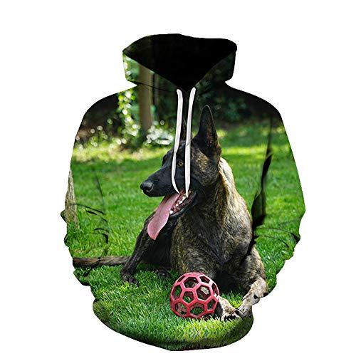 Perro Animal Prado Verde Suéter De Manga Larga 3D Sudadera con Capucha para Hombres Y Mujeres Moda Unisex Deportes Casuales