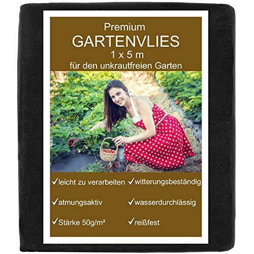 KRONLY Unkrautvlies 1x5m - Gartenvlies als Gartenfolie, Mulchfolie und Unkrautfolie 50g/m², wasserdurchlässig atmungsaktiv Garden Fleece