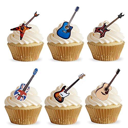 Cupcake Dekor, Gitarren aus Esspapier, Kuchendekoration, 28Stück