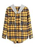 SweatyRocks Women's Long Sleeve Plaid Hoodie Jacket Button Down Blouse Tops Mustard X-Large