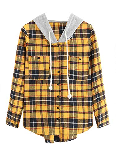 SweatyRocks Women's Long Sleeve Plaid Hoodie Jacket Button Down Blouse Tops Mustard Medium