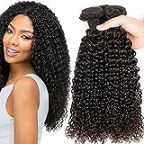 Kinky Curly Human Hair Weave 3 Bundles (14' 16' 18',300g) Brazilian Virgin Curly Hair Weave 100% Unprocessed Hair Weft Extensions Natural Black Color