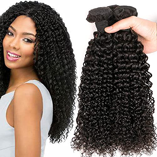 Kinky Curly Human Hair Weave 3 Bundles (14  16  18 ,300g) Brazilian Virgin Curly Hair Weave 100% Unprocessed Hair Weft Extensions Natural Black Color