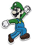 Luigi running looking back in New Super Mario Bros Embroidered Iron On / Sew On Patch Applique