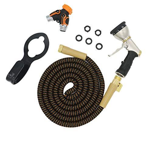Schlauch-Düse Gartendusche Kupfer Joint 3 mal Teleskopautowaschwasserrohr Naturlatex Hochdruckreiniger Gun (Farbe : Orange, Size : 25ft)