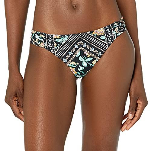 Nanette Lepore Women's Standard Side Shirred Hipster Bikini Swimsuit Bottom, Black//Diamond Vines, 4