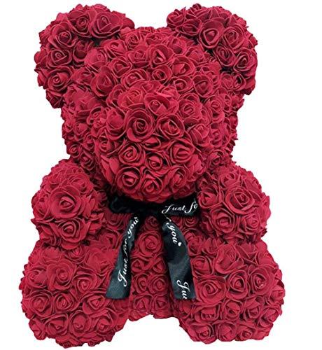 Wide.ling Rose Bär Puppe Plüsch Puppe Teddy Bär aus PE Schaum Dekoration Geschenk für Valentinstag Hochzeit 40cm (Weinrot, 25cm)