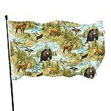 Bandera de jardín para exteriores con ojales de latón rústico, diseño de oso de zorro, alce y mosca de lago, decoración interior del hogar