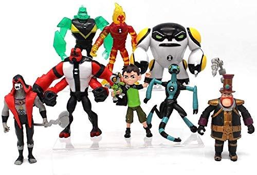 XBen10Da Mai - DaiDian Ben 10 5'' Action Figure Toys , 9pcs Ben Ten Model Toys Set-Ben,Grey Matter,Heatblast,Diamondhead,XLR8,Four Arms,Hex,Cannonbolt,Steam Smythe - Holiday Toy Gifts for Kids