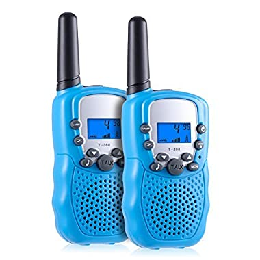 Kearui Toddlers Kids 22 Channel 2 Way Radio Mini Walkie Talkies, Best Toys Gifts for 3-12 Year Old Boys and Girls (1 Pair, Blue)