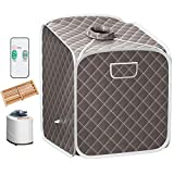 Giantex Portable Steam Sauna Spa 2L Folding Private Sauna Tent W/Chair Foot Massage Roller Absorbent Pad and 9 Adjustable Temperature Levels Spa Tent for Weight Loss Stress Fatigue (Gray)