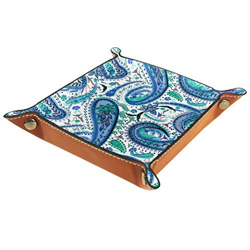 Valet Tray, PU-Leder-Tablett, Catchall-Tray, Herren Damen Schmuck Schlüsselablage, Schreibtisch-Ablageplatte für Schlüssel, Münzen, Telefon, Schmuck, Geldbörse, blauer Octopus Whisker
