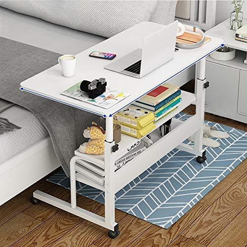 Laptop Stand Adjustable 80 * 40cm Computer Standing Desk Movable/Wheels, Computer Desk for Home, Side Table for Bed Sofa Hospital Reading Eating, Shelves Storage,White,A