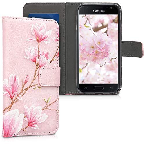 kwmobile Hülle kompatibel mit Samsung Galaxy J3 (2017) DUOS - Kunstleder Wallet Hülle mit Kartenfächern Stand Magnolien Rosa Weiß Altrosa