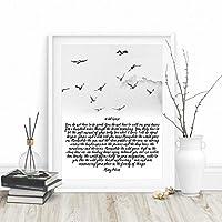 KDSMFA野生のガチョウの絵印刷インク鳥水彩アートキャンバス画像農家の壁アート装飾詩教会ポスター/ 50x70cm(フレームなし)