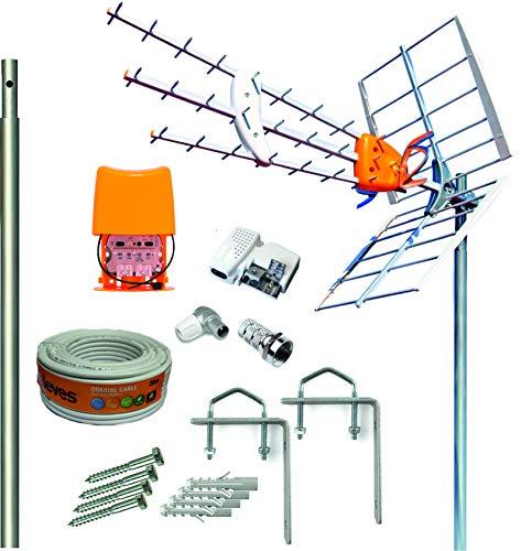 Kit Antena Televes 5G + Amplificador y Fuente + Mástil 1.5m + Garras + Conexiones + 20m Cable Televes