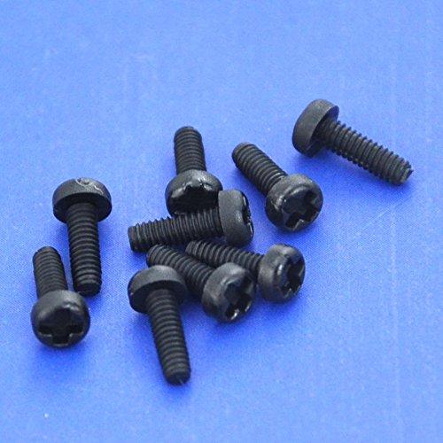 Electronics-Salon 100pcs vis M2 x 6 mm Phillips pan-header en nylon noir.
