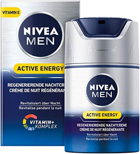 Nivea Men Active Energy Regenererende nachtcrème, per stuk verpakt (1 x 50 ml), regenererende nachtcrème voor mannen, hydraterende crème verzorgt 's nachts