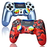 YU33 2 Pack Wireless Controller Compatible with Playstation 4 System, for PS4 Remote with 2pack Charging Cables and Two Motors (Titanium Blue + Red Camouflage,2021