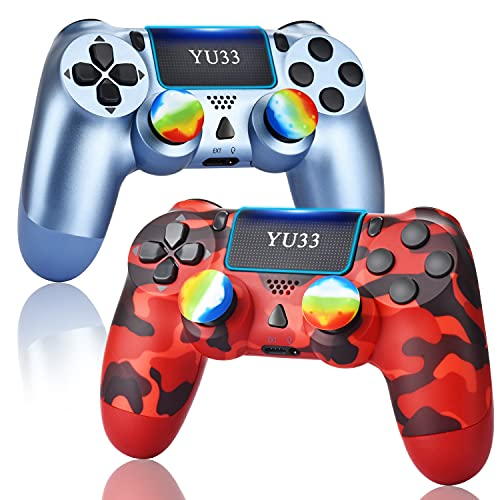 YU33 2 Pack Wireless Controller PS4,Works with Playstation 4 System, Gaming Pa4 Remote Control,Great Red Camo Joystick Gift for Christmas and Birthday (Titanium Blue+Red Camouflage Mando,Not Original)